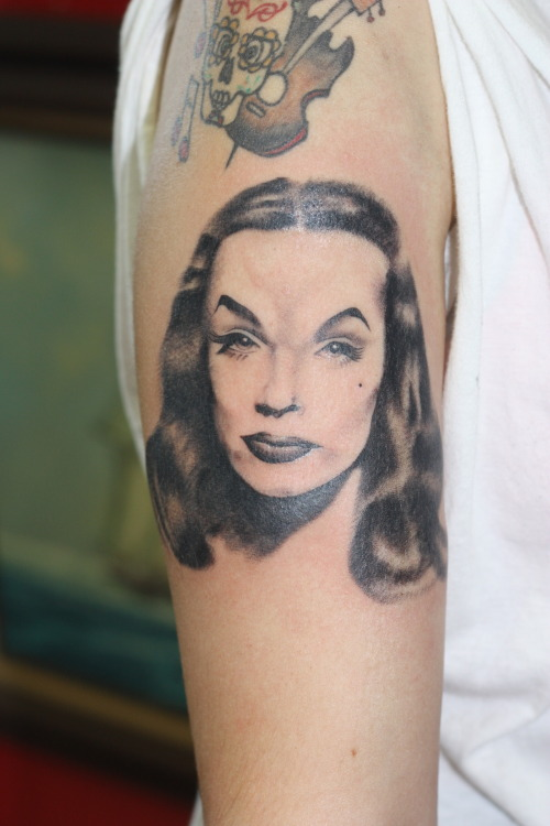 Vampira! I mostly do traditional style tattoos…here is my first attempt at doing a portrait. Big thanks to my customer who had faith in me!! Candice - Saints & Sinners Tattoo, Garden Grove, CA