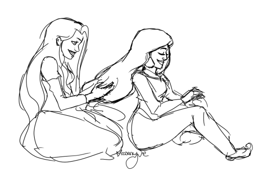 roserayne:  Jasmine and Rapunzel having a sleepover.