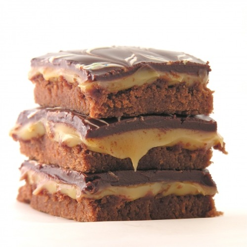 bakeddd:  caramel fudge brownies click here for recipe