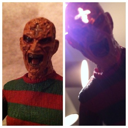 "So, the ""heroin"" Freddy came with an extra head with a cross burnt in. If you get some light behind it, shit gets awesome. #nightmareonelmstreet #freddy #neca #toys #figures  (Taken with Instagram)"
