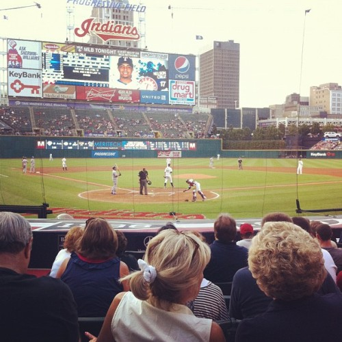 Best seats I have EVER had at a baseball game. 8 rows from home plate. WOAH. #baseball #indians  (Taken with Instagram at Progressive Field)