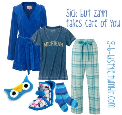 SICK BUT ZAYN TAKES CARE OF YOU !!    V neck t shirt / Juicy Couture robe / Cyberjammies cotton pants / FAIR+true wool socks / Hello Kitty slipper shoes