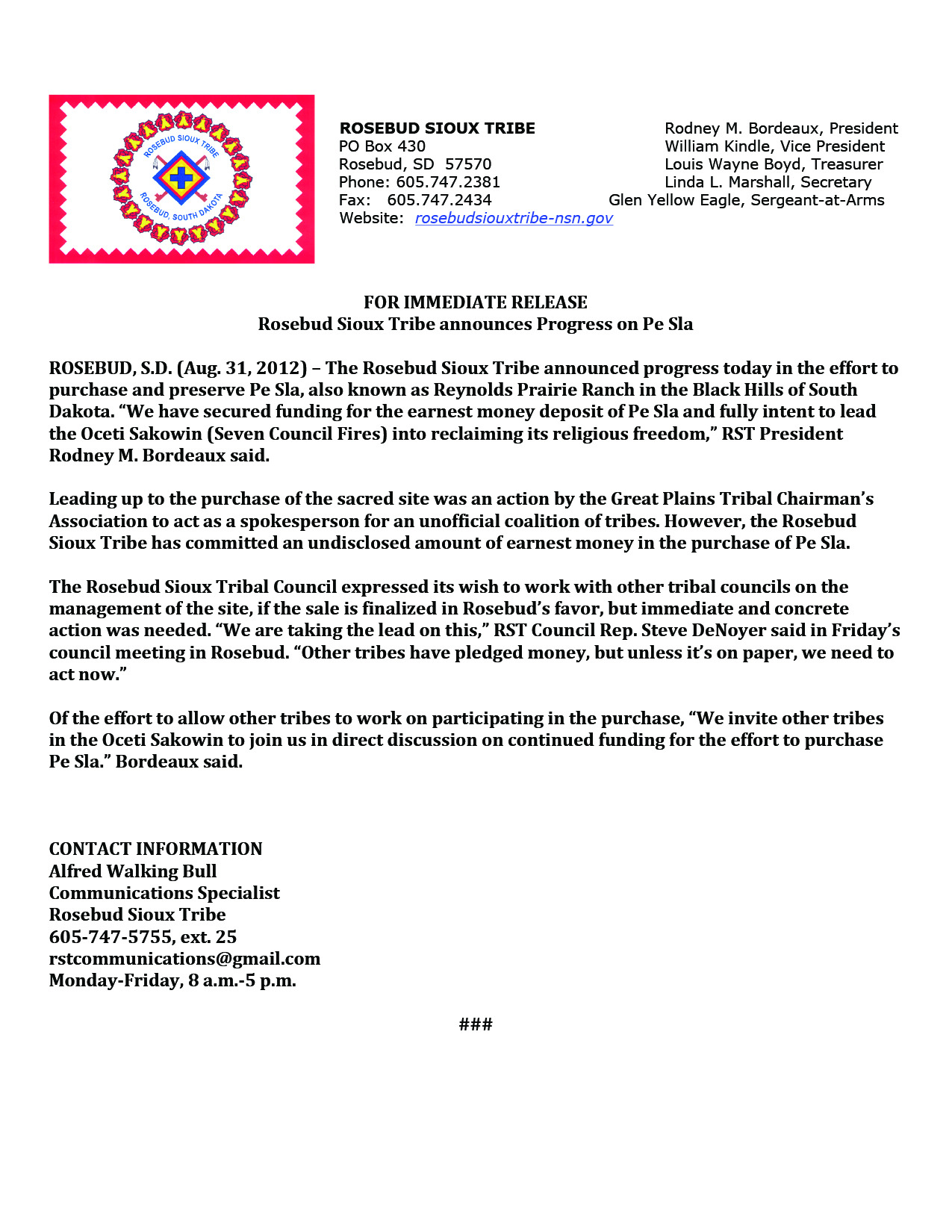 Rosebud Sioux Tribe Announces Progress on Pe Sla