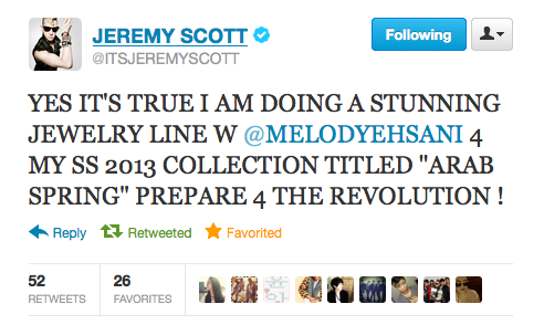 Lookout for the M.E. x Jeremy Scott collab. Arab Spring SS13!