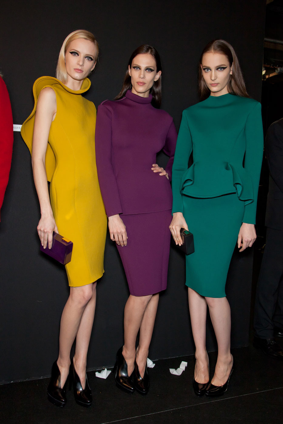 modfels:  Daria Strokous, Aymeline Valade, and Zuzanna Bijoch backstage at Lanvin Fall 2012