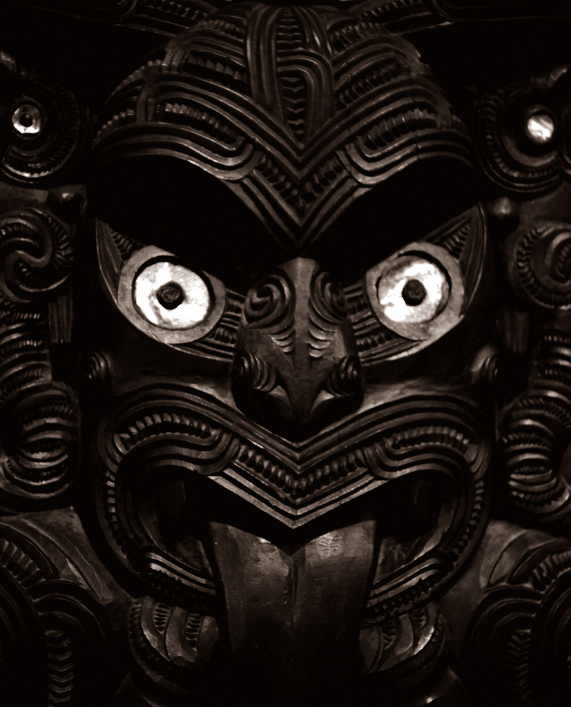 Maori carving from the Meeting house, Waitangi, where in which the Treaty of Waitangi between Māori chiefs of New Zealand and the British Crown was first signed on 6 February 1840.