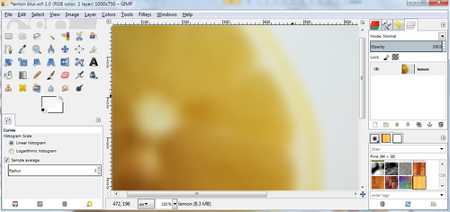 Editing an image of a lemon in GIMP