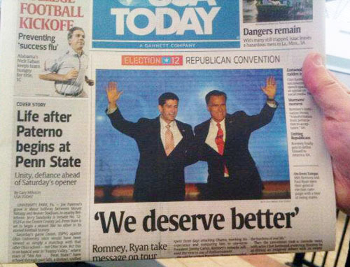 In which USA Todaytries for the powerful quote headline to emphasize the RNC's overarching message, and somehow pulls off the opposite effect. (via Charles Apple)