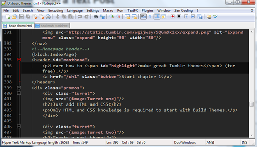 HTML in Notepad++