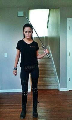 itsalwayshalloween:  Me in my Umbrella shirt with my sword :) I'm going to wear this when I see Resident Evil and probably on Halloween!   Reblogging this from my Halloween blog.