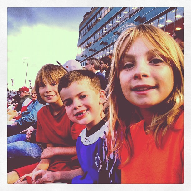 At the game with cousins, pizza. Life is good.  (Taken with Instagram)