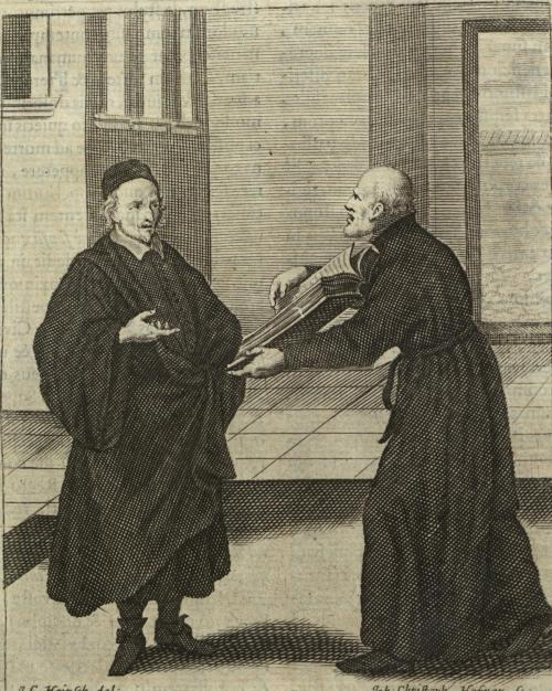 Illustration of Jesuit Brother Instructing a Czech Protestant in  Mathias Tanner's (1630-1692) Societas Jesu apostolorum imitatrix …