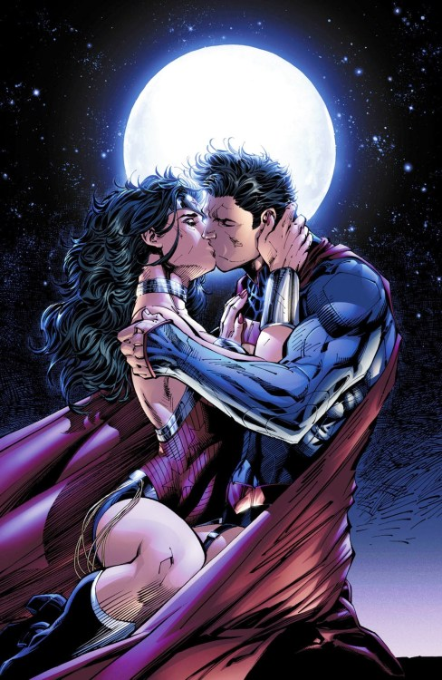"""THE KISS"" from Justice League #12 Art by Jim Lee. Colors by Alex Sinclair."