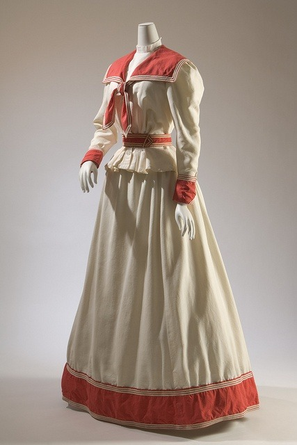 ornamentedbeing:  Haas Brothers, two-piece dress, red and white cotton, circa 1894, USA  FIT