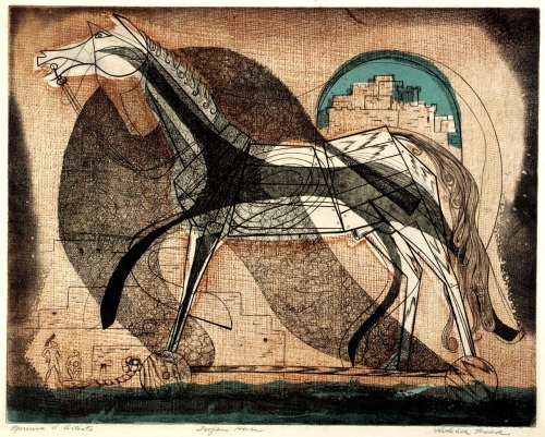 Roderick Mead, Trojan Horse (ca 1940's-50's) (color engraving, aquatint and soft ground etching on paper)