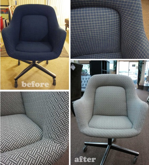 8/31/2012:  Knoll Vintage Swivel Chair Transformed Craigslist for furniture is kind of a gold mine.  I picked up this Knoll swivel chair for $150 and although the fabric looked decent, the cat hair (kind of a bitch to remove) and fabric discoloration on the arms wasn't something I could live with.  I found an inexpensive yet durable fabric and had this chair reupholstered.  I'm really happy with the results :D