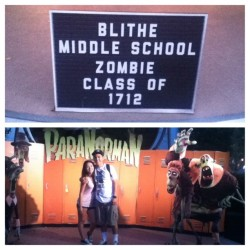 I wish we could go to this school! 💚 #paranorman #blithemiddleschool #classof1712 #zombies #middleschoolsweetheart @ocampos_01  (Taken with Instagram at Universal Studios Hollywood)