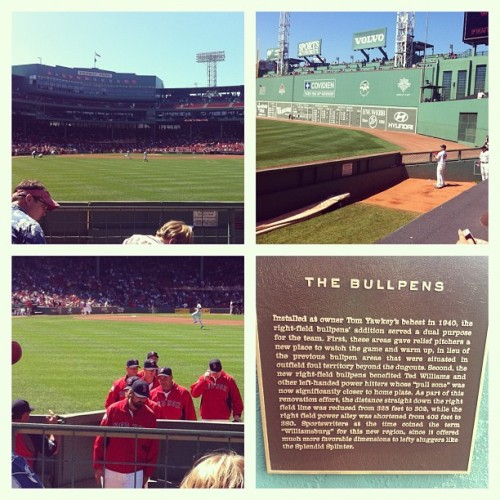 "2nd game at Fenway from right behind the bullpens, also known as ""Williamsburg"" #bostongram  (Taken with Instagram)"