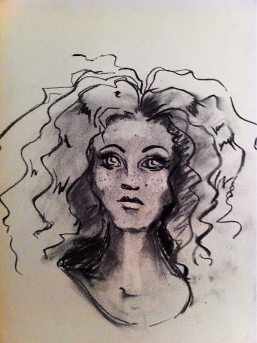 My sketch tonight turned into Merida…