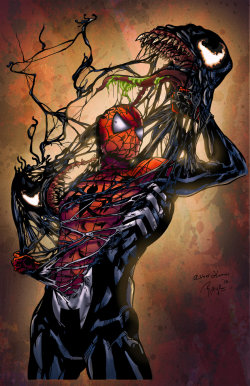 lifeandwhiskers:  Spiderman vs. Venom - Colored by ~LadyOrange