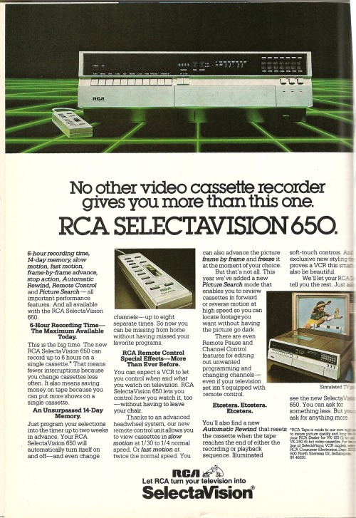 RCA. Ad from Playboy, March 1981.