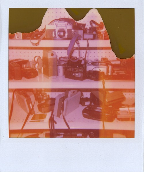 Me at a Goodwill testing to see if the film inside a Polaroid 600 camera was good before I bought it. 1/6