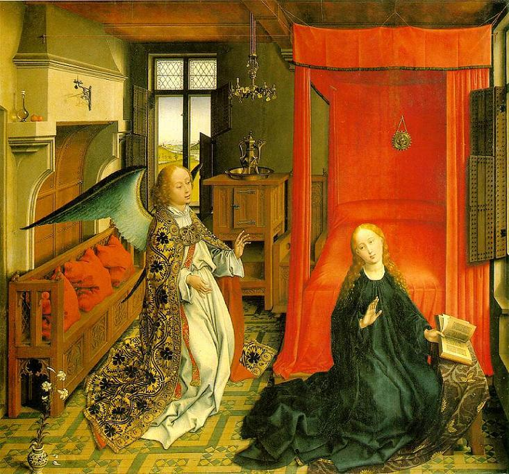 The Annunciation (ca. 1440). Rogier van der Weyden (1399/1400 – 1464). Oil on panel. Musée du Louvre, Paris. This work is linked to Luke 1:34. Central panel of a triptych. The triptych was made in Van der Weyden's workshop but probably not by him. Experts point at the lack of Rogier's usual rigour and at the inferior brushwork in the angel's golden cope. This scene must have taken place around March 25th. There is no fire in the fireplace and the windows are open. The lilies in the foreground are symbol of the virgin's purity.