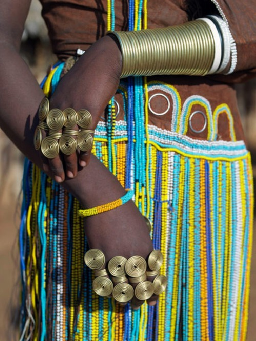 The traditional attire of Datoga women, South Africa