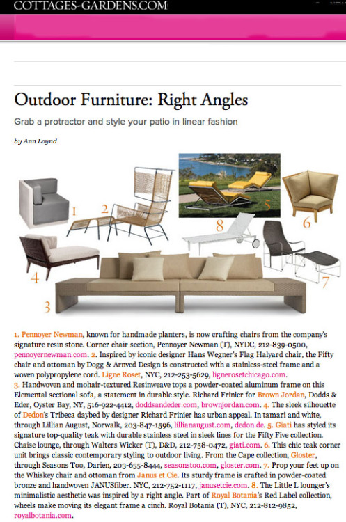 Cottages & Gardens features outdoor/garden furnishings by designer Richard Frinier (Summer 2012) - Thank you, Cottages & Gardens!