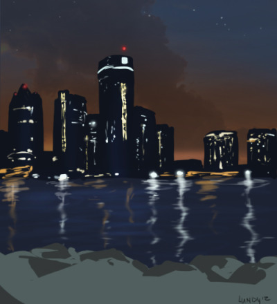 Quick sketch of the Detroit skyline from our end.