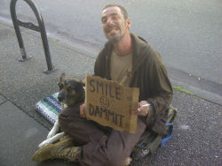 adamwilli4m:  Downtown Vancouver homeless people pack the streets asking for money and a helping hand. But this guy.. I've never been so inspired in my life. He wasn't asking for money. All he wanted was for people to realize how good they've got it and smile. He's not living the most amazing life, but he's alive and has his dog and I could tell he's honestly happy with getting by and being lucky enough to make strangers smile. People; please just realize how good you've got it. Even when your life is complete and utter shit, think about how lucky you are to be here. Smile Dammit :)