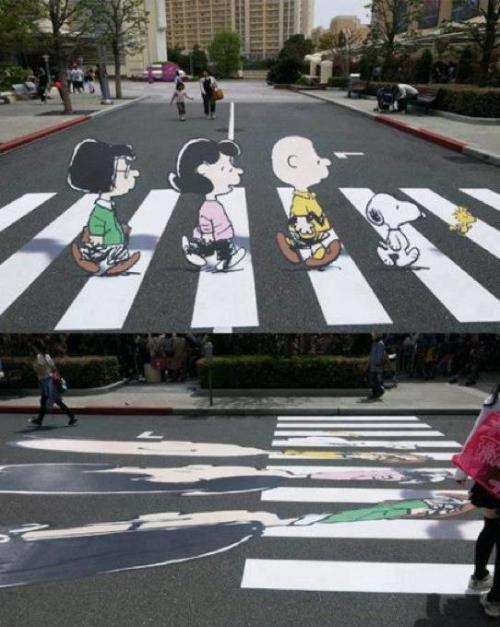Snoopy illusion illustrations on Japan's street