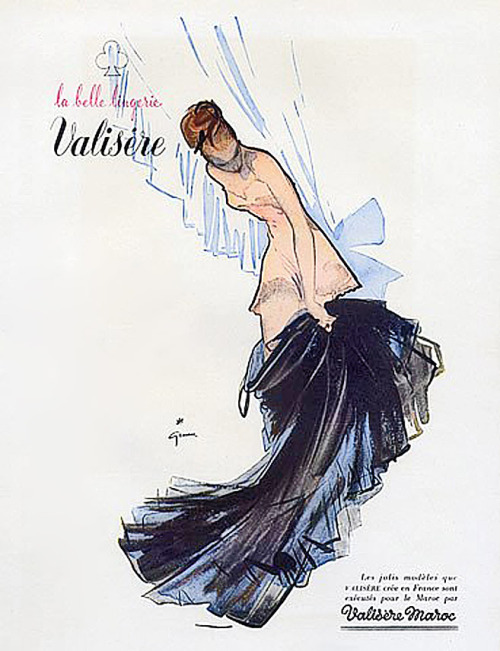 Valisere lingerie, 1948 Illustration by Rene Gruau
