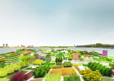 atelier-atelier:  Dutch architects MVRDV have proposed extending the city of Almere into a lake by building a square-shaped artificial peninsula covered in gardens  Why don't they build up instead of into a lake?