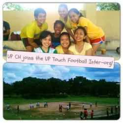 upcirculohispanico:  Taken earlier at the UP Track Oval during the UP Touch Rugby Club's 2nd Inter-org Competition! We didn't win any game but at least, we had ONE POINT! Good job! Photo by Roja San Juan  I MADE THAT ONE POINT! HAHAHA But, of course, with the help of the whole team, especially Gil! :))