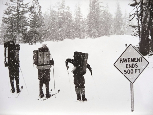 vintageski:  Early 1970s: Doug Robinson, Ken St. Oegger and Yvon Chouinard setting off from Mammoth Mountain for Yosemite National Park. Photo by Kris McDivitt. Photo courtesy of Doug Robinson.