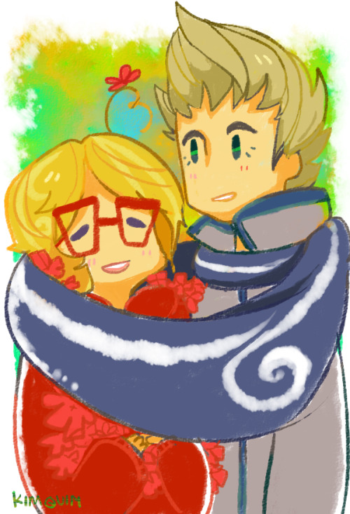 kim-quim:  I just have a thing for scarf sharing (●´∀`●) it's cute yo