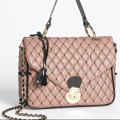 #REDValentino's quilted satchel bag. Leather and point d'esprit. F/W 12-13. <3 #prideandprejudice #girly #romantic #pretty #classy #funny #sweet #fairytale #rose #pointdesprit #bag #chain #velvet #gold #lightgold #fallwinter12 #victorian #accessories #fashion #mode  (Taken with Instagram at REDValentino's world)