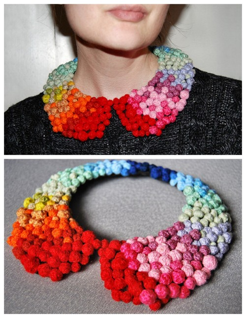 DIY Colorful Pom Pom Collar Necklace Tutorial by From Rags to Couture here. What's really good about this tutorial besides the original take on the detachable collar is that she provides you with lots of links to other tutorials i.e. making the basic pattern if you want a template.
