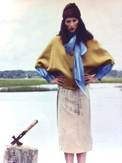 STATE Feed Sack Skirt and Felted Alpaca Cap in Charleston Magazine