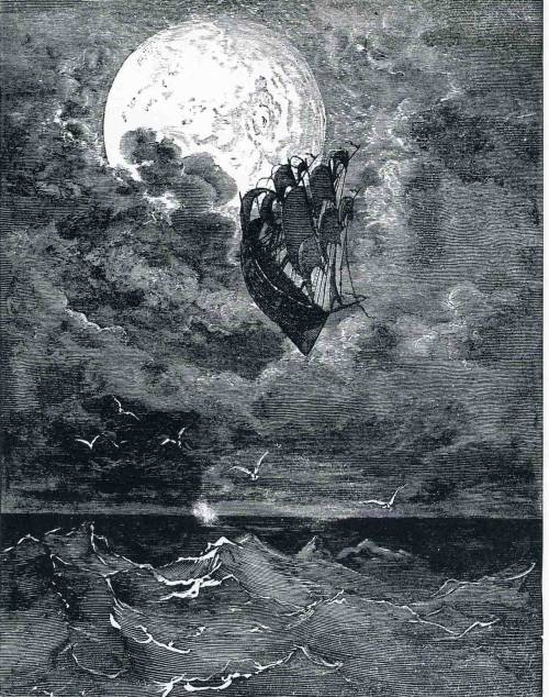 2headedsnake:  Gustave Dore, A Voyage to the Moon, 1868 as part of The Adventures of Baron Munchausen series