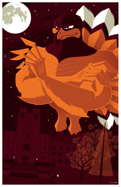 "hokieheels:      Really cool HokieBird image. http://strongstuff.deviantart.com/art/hokiebird-commission-100193711 ""this is a commission for a virginia tech alum who saw my feature on slashfilm and wanted me to re-interpret his school's mascot, the hokiebird…he also wanted the university administration building prominently featured and some kind of subltle tribute to the 32 people that died in the campus shootings last year (count the stars)…anyway, he seemed pretty happy with the end result.""      A unique interpretation of the HokieBird. We dig it!"