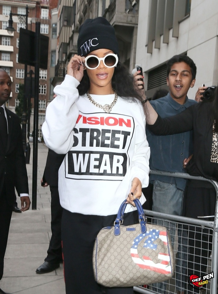 Rihanna Steps Out In London   Singer Rihanna leaves her hotel in London rocking a rather sporty outfit.