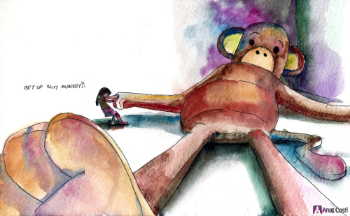moleskinelovers:  Get up silly monkey by Anat Costi