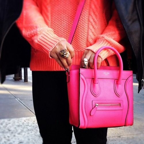 Bright pink Céline bag.