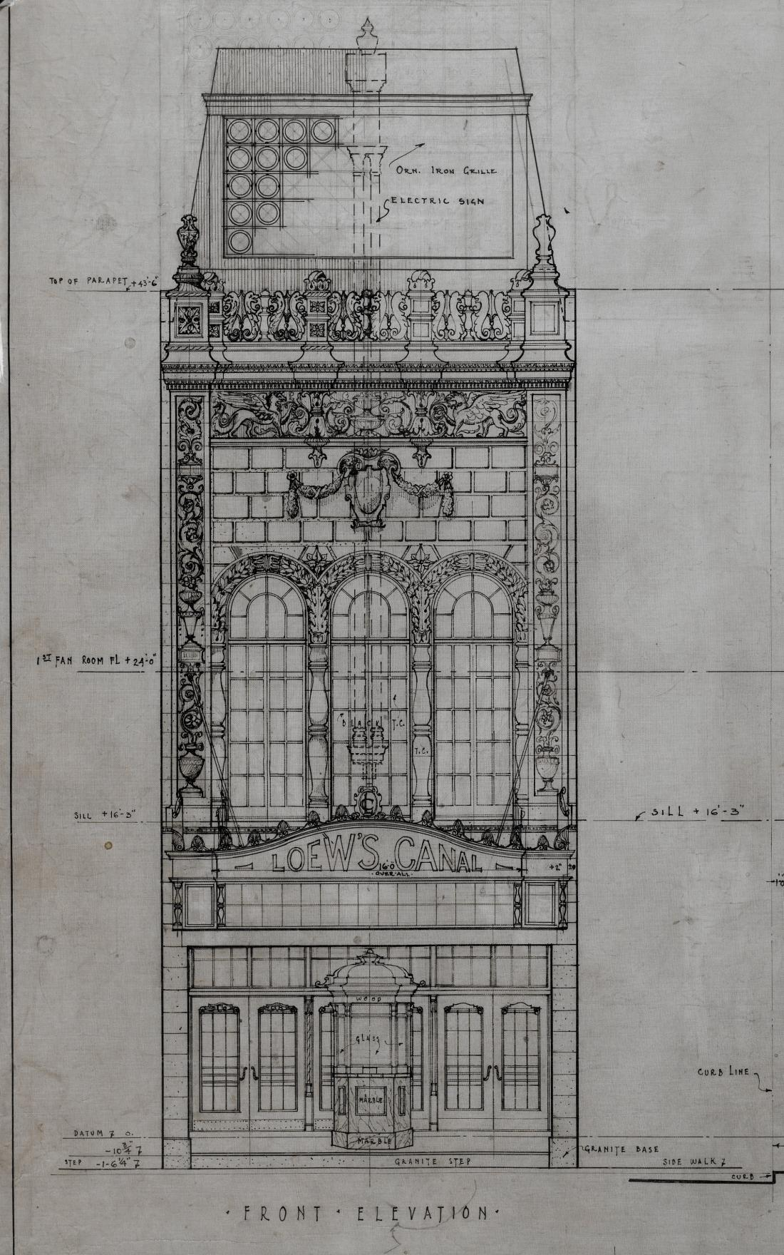 archimaps:  Elevation for Loew's Canal Street Theatre, New York