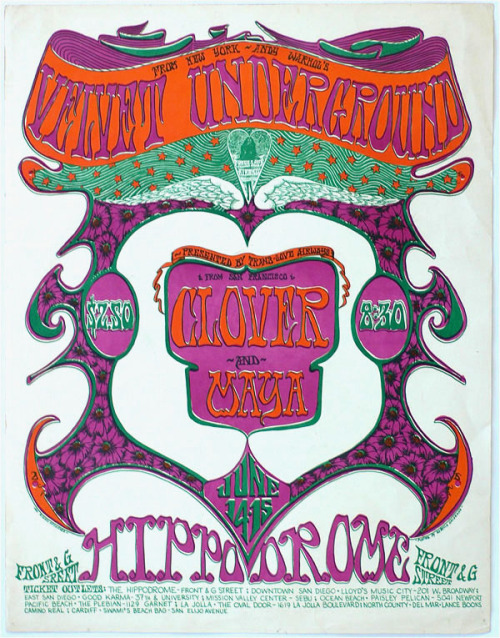 zombiesenelghetto:  The Velvet Underground, poster for a set of shows at the Hippodrome in San Diego, Ca. on June 14-15, 1968