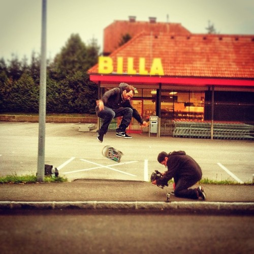 We're working on it, too! #skatelife #skateboarding #skateboard #filming #gap #parkinglot #landskron #kärnten #carinthia #steinwender #supermarket #billa #street #busy #iphoneonly #iphone4  (Taken with Instagram at Billa Landskron)