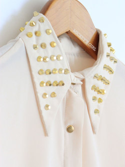 Studded Collar Blush Chiffon Long Sleeve $41 - MickeysGirl.com
