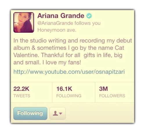 Ariana hits 3 Million followers on twitter!